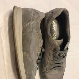 GEOX Mens Grey Suede Sneakers Size 12